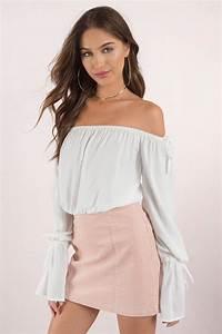 Cute Top - Off Shoulder Top - Bell Sleeve Top