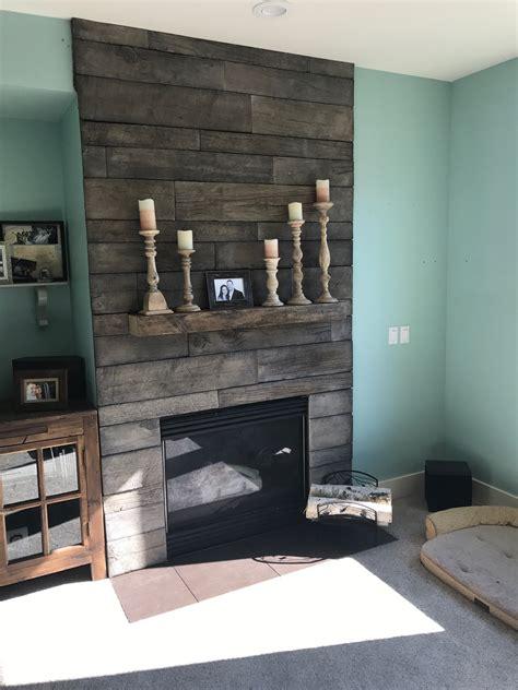 barnwood stone fireplace