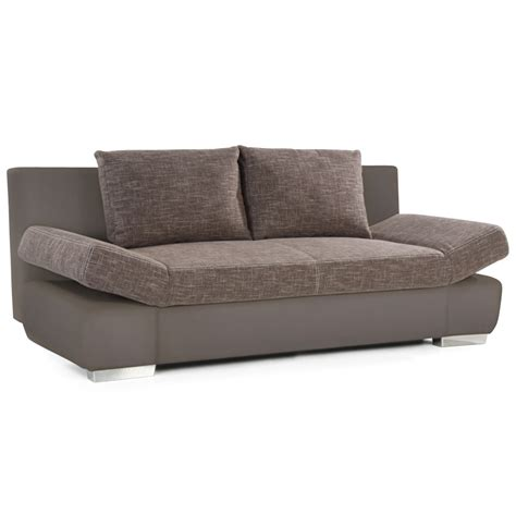 canapé lit convertibe 39 marki 39 taupe taupe 2 places en