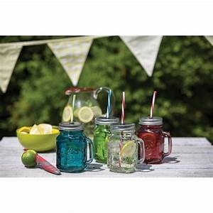 Mason Jar Paille : verre bleu mason jar paille homemade ~ Teatrodelosmanantiales.com Idées de Décoration