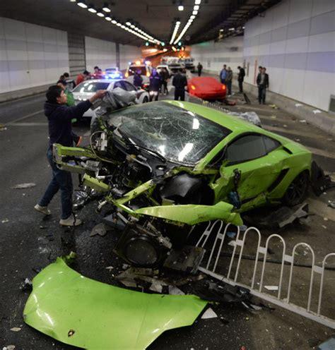 supercars crash  china  illegal street race