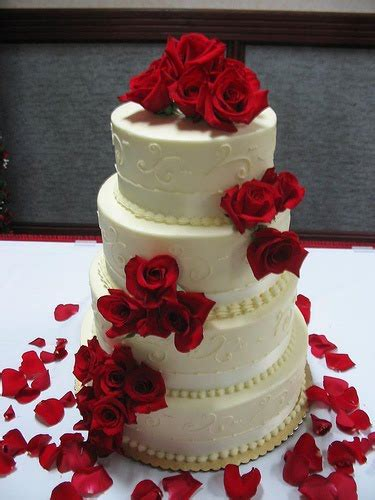 Red And White Wedding Cakes Food And Drink