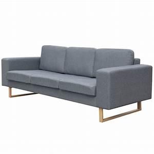 3 Sitzer Sofa : der vidaxl 3 sitzer sofa stoff hellgrau online shop ~ Frokenaadalensverden.com Haus und Dekorationen