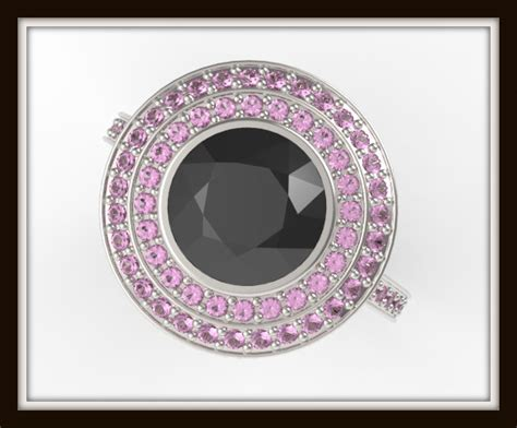 Black Diamond And Pink Sapphire Engagement Ring -unique