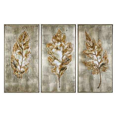 Uttermost Wall Pictures by Buy Uttermost Chagne Leaves Framed Wall Set Of 3