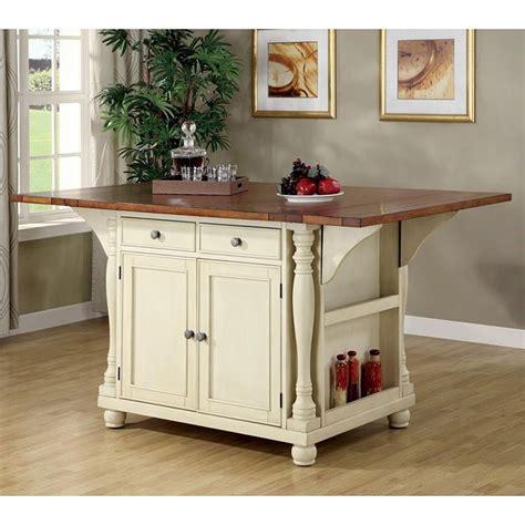 buttermilk  cherry kitchen island coaster furniture
