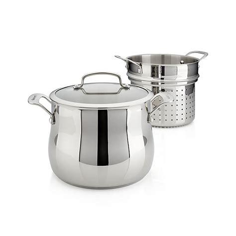 cuisinart  qt  pc pasta pot  strainer crate  barrel