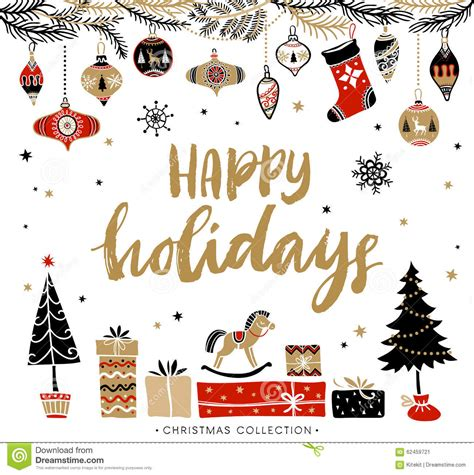 happy holidays christmas greeting card  calligraphy