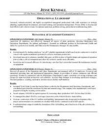 operations manager resume objective exles exle operations supervisor resume free sle