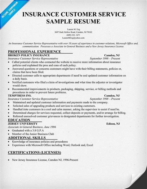 Insurance Resume Sle by Insurance Customer Service Resume Sle Resumecompanion