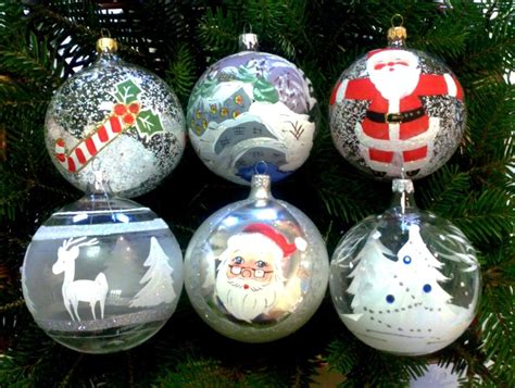 hand decorated blown glass christmas baubles set box of