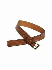Vintage 1970's Belt: 70s -Vogt- Mens tan leather western
