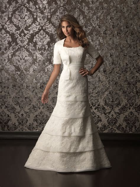 trumpet mermaid square neck tiered lace modest wedding