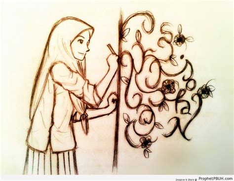 drawing  muslimah creating artistic designs drawings