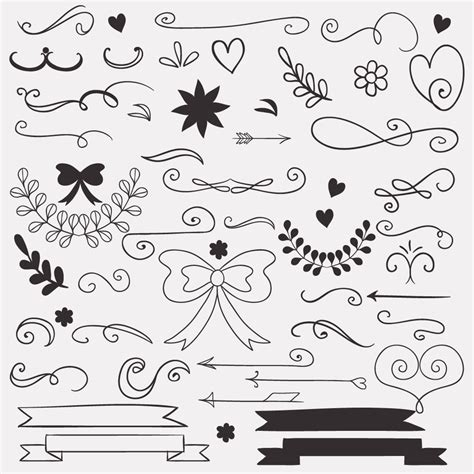 set  doodle decorations photoshop vectors