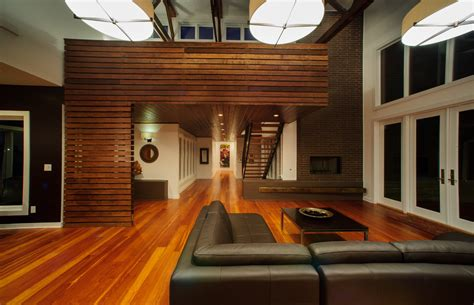 wood slat wall living room contemporary  brick wall