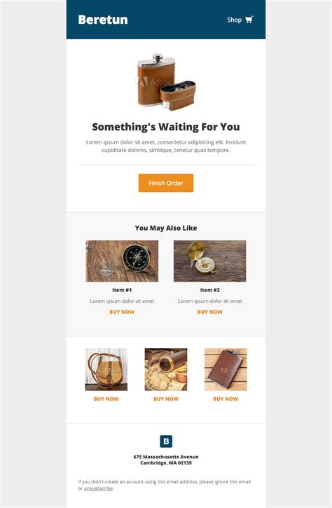 Email Template Shopping by Beretun Shopping Cart A Free Mautic Email Template