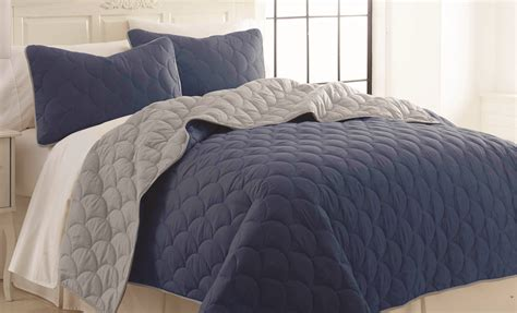 Coverlet Quilts by 3 Solid Reversible Coverlet Set Cloud