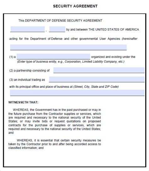 Security Contracts Templates by Security Agreement 7 Free Pdf Doc Downlaod Sle