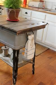 repurposed kitchen island vintage inspiration 178 wash tub islands wooden cubbies more knick of time