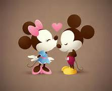 Mickey And Minnie Mous...Mickey Mouse And Minnie Kissing