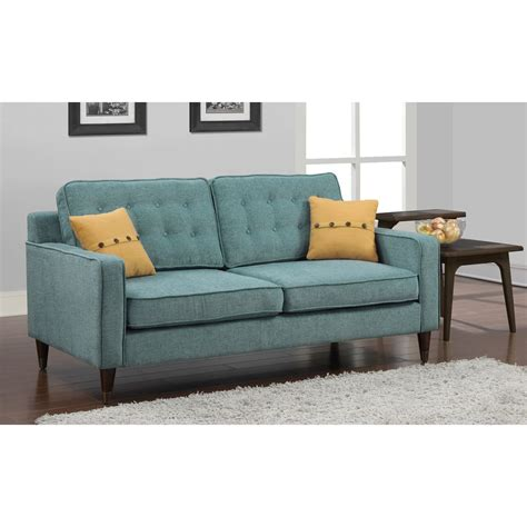 Sofa Pillows Shopping by Jackie Aqua Sofa With Yellow Button Pillow Living