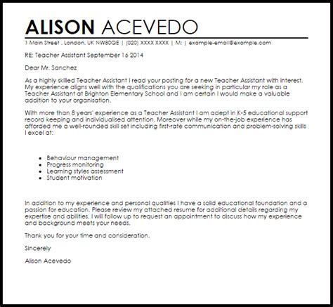 cover letter for learning support assistant assistant cover letter sle cover letter templates exles