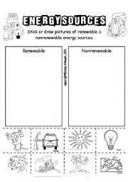 english worksheet energy sources energy sources