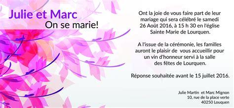 faire part mariage original gratuit à imprimer invitation de mariage images invitation sle and