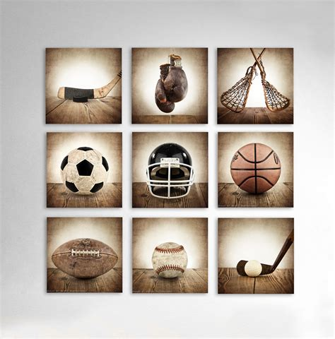 rare sports vintage square sports collection set of nine canvases ready