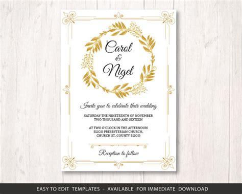 gold wedding invite template printable wedding invitation