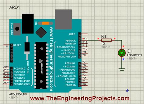 Simple Arduino Led Example Proteus The Engineering