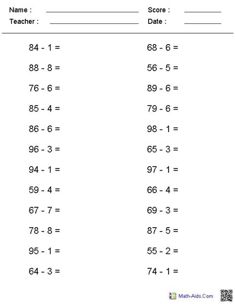 digits vertical subtraction with regrouping no regrouping horizontal format subtraction worksheets