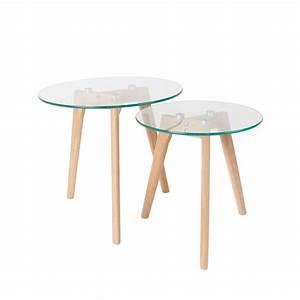 Table Basse Scandinave : tables basses design scandinave gigognes ingmar en bois et verre x2 ~ Teatrodelosmanantiales.com Idées de Décoration