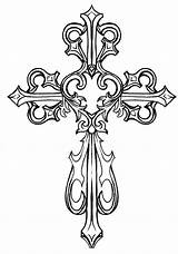 Coloring Cross Pages Drawing Clipart Adult Sheets Colouring Tattoo Tattoos Ornate Worldartsme sketch template