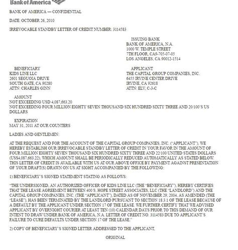 letter of credit from bank bank of america letter of credit tomyumtumweb 6630