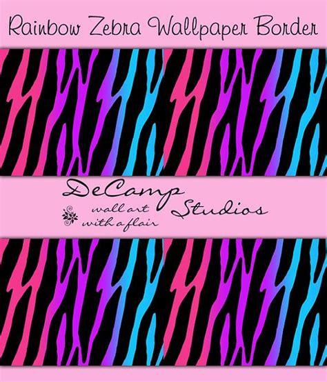 rainbow zebra print wallpaper border wall decals for teen