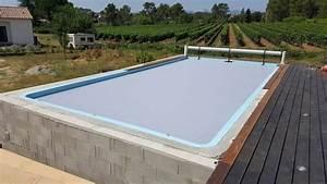 piscine coque quotriviera 3quot 8 x 4 fond plat 155m a lablachere With volet roulant piscine gris