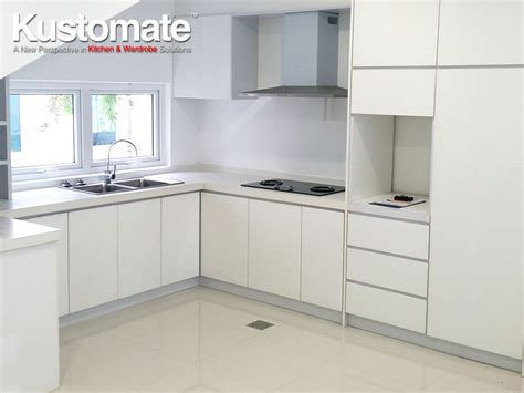 White Melamine Kitchen Cabinet Design Build For Dry & Wet