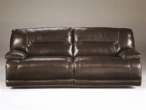 Ashley furnitureexhilaration chocolate 2 seat reclining sofa for Ashley leather sofa