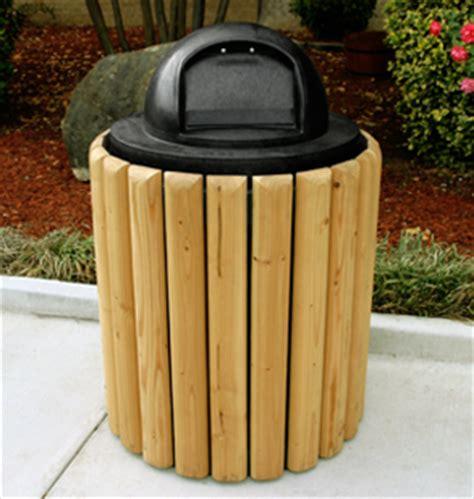 slat style trash cans wood trash receptacles belson
