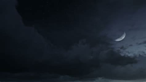 Night Sky With Half Moon Stars And Clouds Time Lapse