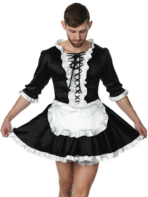Simply Satin French Maid Dress  Cross Dressing Cosplay