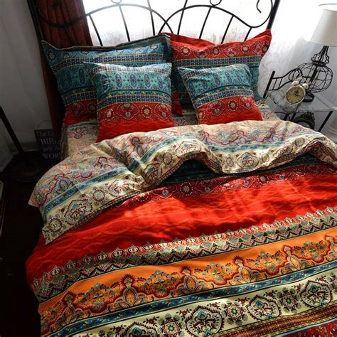 Bohemian Coverlet by Boho Style Duvet Cover Set Colorful Stripe Bohemia Bedding