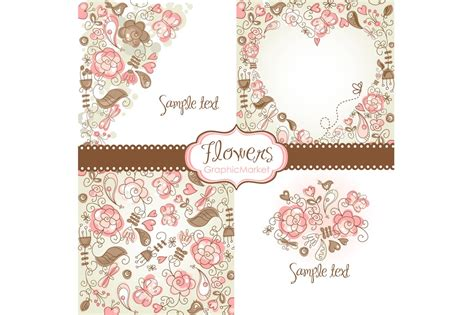 floral template designs clipart illustrations