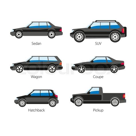 Car Body Types Vector Flat Icons Of Sedan And Coupe Wagon