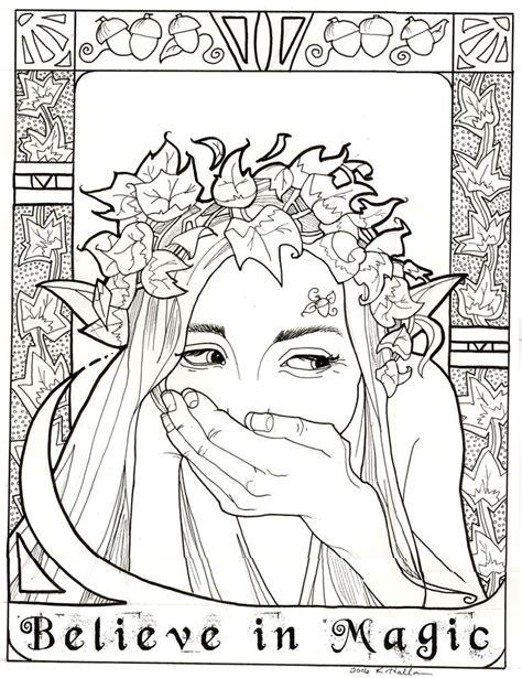 magic coloring page leafy elf  khallion