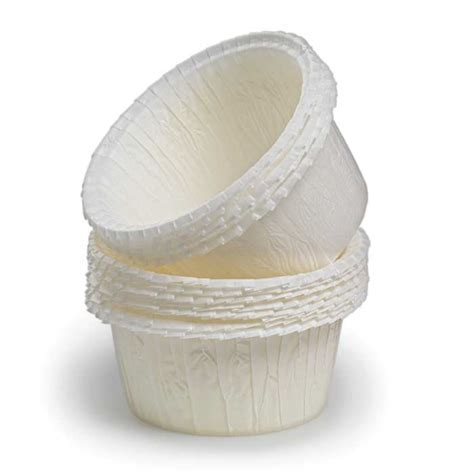 Flat Rimmed White Baking Cups   Set of 60