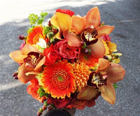 orange dahlias bouquet wedding flower