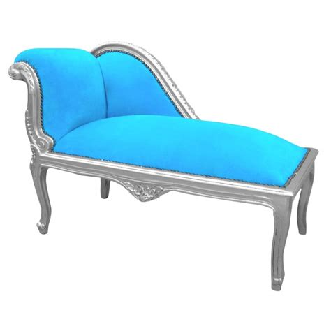 chaise turquoise louis xv chaise longue turquoise blue velvet fabric and